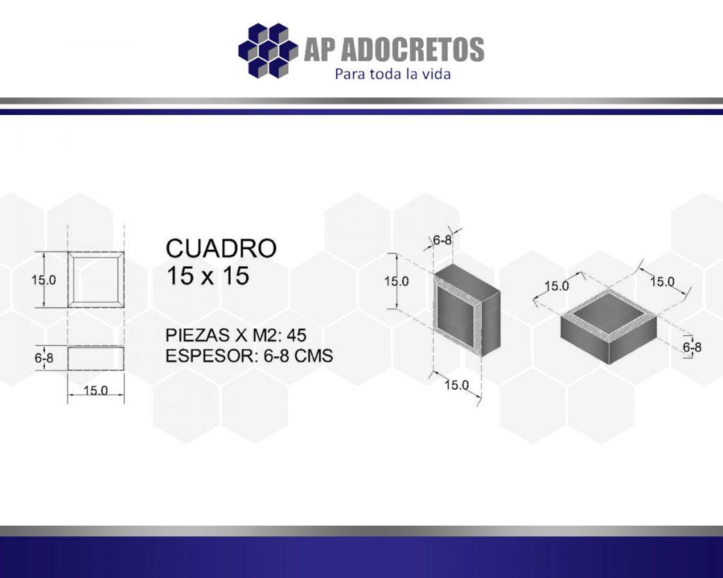 Ficha técnica Adoquin Cuadro 15x15