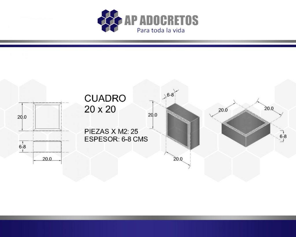 Ficha técnica Adoquin Cuadro 20x20