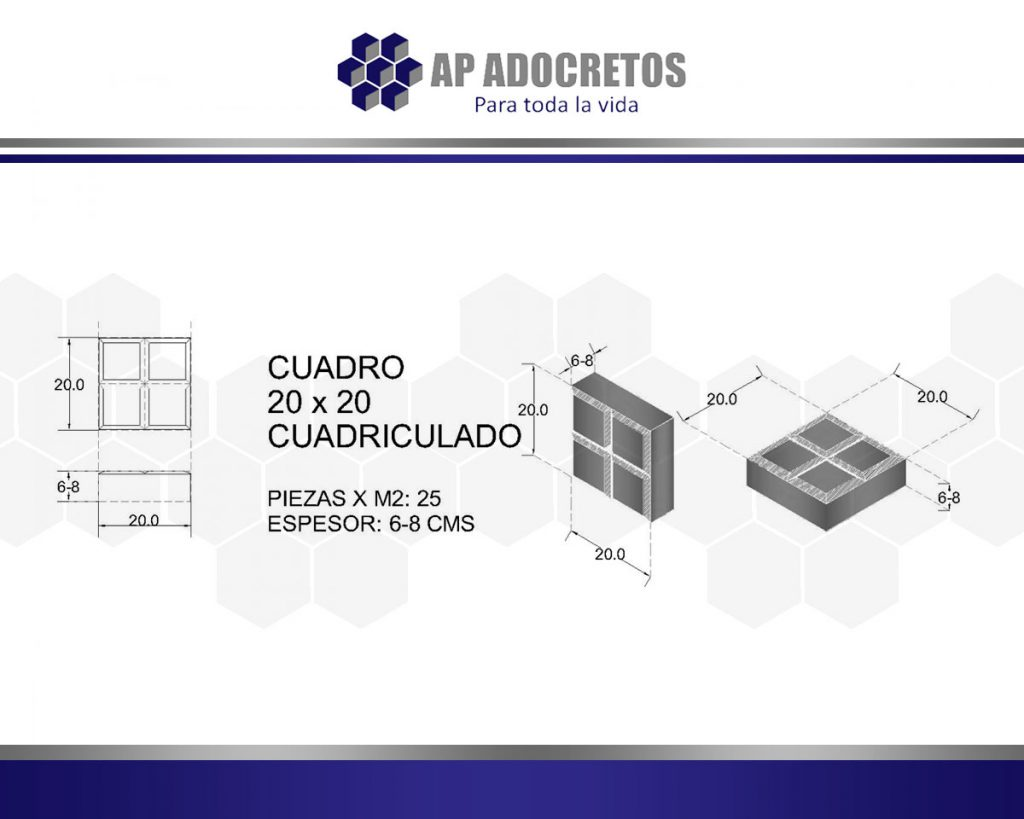 Ficha técnica Adoquin Cuadro 20x20 Cuadriculado