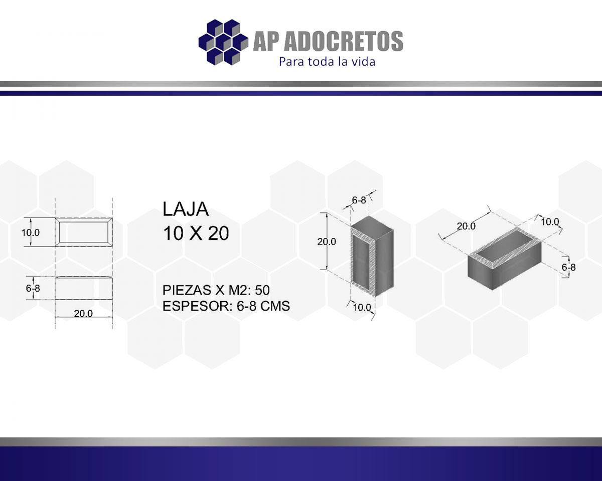 Ficha técnica Adoquin LAJA 10X20