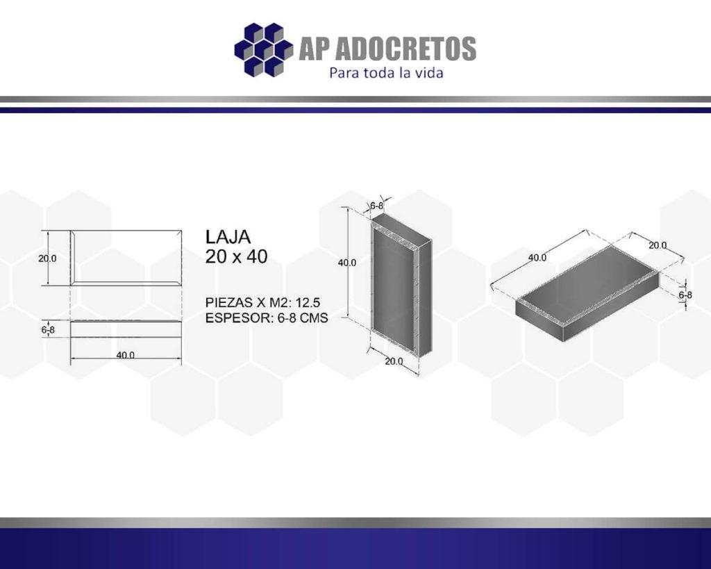 Ficha técnica Adoquin LAJA 20X40