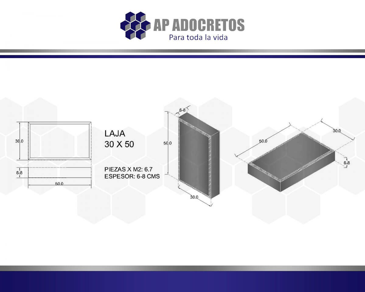 Ficha técnica Adoquin LAJA 30X50